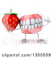 Clipart Of A 3d Mouth Teeth Character Holding Up A Finger And Strawbery Royalty Free Illustration
