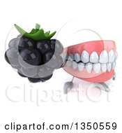 Clipart Of A 3d Mouth Teeth Character Holding Up A Blackberry Royalty Free Illustration