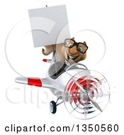 Clipart Of A 3d Bespectacled Business Squirrel Aviator Pilot Holding A Blank Sign And Flying A White And Red Airplane To The Left Royalty Free Illustration