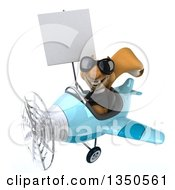 Clipart Of A 3d Business Squirrel Aviator Pilot Wearing Sunglasses Holding A Blank Sign And Flying A Blue Airplane To The Left Royalty Free Illustration