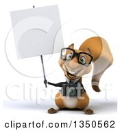 Clipart Of A 3d Bespectacled Business Squirrel Holding A Camera And Blank Sign Royalty Free Illustration