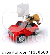 Clipart Of A 3d Business Squirrel Wearing Sunglasses Holding A Blank Sign And Driving A Red Convertible Car To The Left Royalty Free Illustration by Julos