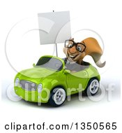 Clipart Of A 3d Bespectacled Business Squirrel Holding A Blank Sign And Driving A Green Convertible Car To The Left Royalty Free Illustration by Julos