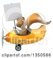 Clipart Of A 3d Squirrel Aviator Pilot Holding A Blank Sign And Flying A Yellow Airplane To The Left Royalty Free Illustration