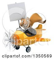 Clipart Of A 3d Business Squirrel Aviator Pilot Holding A Blank Sign And Flying A Yellow Airplane To The Left Royalty Free Illustration by Julos