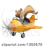 Clipart Of A 3d Business Squirrel Aviator Pilot Flying A Yellow Airplane To The Left Royalty Free Illustration by Julos