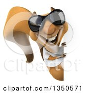 Clipart Of A 3d Casual Squirrel Wearing A White T Shirt And Sunglasses Looking Around A Sign Royalty Free Illustration by Julos