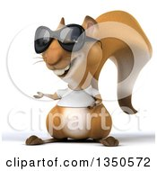 Clipart Of A 3d Casual Squirrel Wearing A White T Shirt And Sunglasses Presenting Royalty Free Illustration by Julos