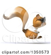 Clipart Of A 3d Casual Squirrel Wearing A White T Shirt And Sunglasses Hopping To The Right Royalty Free Illustration by Julos
