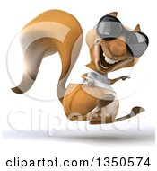 Clipart Of A 3d Casual Squirrel Wearing A White T Shirt And Sunglasses Hopping And Pointing To The Right Royalty Free Illustration by Julos
