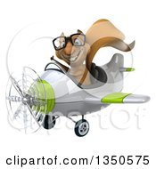 Clipart Of A 3d Bespectacled Squirrel Aviator Pilot Giving A Thumb Up And Flying A White And Green Airplane To The Left Royalty Free Illustration
