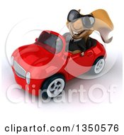 Clipart Of A 3d Business Squirrel Wearing Sunglasses And Driving A Red Convertible Car To The Left Royalty Free Illustration by Julos