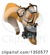 Clipart Of A 3d Bespectacled Business Squirrel Holding A Camera Around A Sign Royalty Free Illustration
