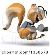 Clipart Of A 3d Bespectacled Business Squirrel Holding A Camera Facing Right And Jumping Royalty Free Illustration