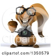 Clipart Of A 3d Bespectacled Business Squirrel Holding A Camera And Acorn Royalty Free Illustration