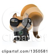 Clipart Of A 3d Business Squirrel Wearing Sunglasses And Holding A Camera Over A Sign Royalty Free Illustration by Julos