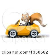 Clipart Of A 3d Business Squirrel Driving A Yellow Convertible Car To The Left Royalty Free Illustration by Julos