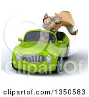 Clipart Of A 3d Bespectacled Business Squirrel Driving A Green Convertible Car Royalty Free Illustration by Julos