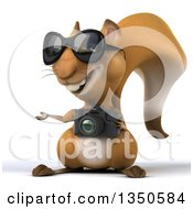 Clipart Of A 3d Squirrel Wearing Sunglasses Holding A Camera And Presenting Royalty Free Illustration