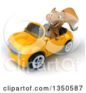 Clipart Of A 3d Squirrel Driving A Yellow Convertible Car To The Left Royalty Free Illustration