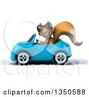 Clipart Of A 3d Squirrel Wearing Sunglasses And Driving A Blue Convertible Car To The Left Royalty Free Illustration