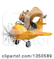 Clipart Of A 3d Squirrel Aviator Pilot Flying A Yellow Airplane To The Left Royalty Free Illustration