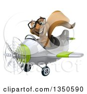 Clipart Of A 3d Bespectacled Squirrel Aviator Pilot Flying A White And Green Airplane To The Left Royalty Free Illustration