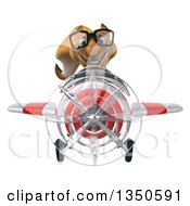 Clipart Of A 3d Bespectacled Business Squirrel Aviator Pilot Flying A White And Red Airplane Royalty Free Illustration