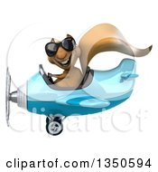 Clipart Of A 3d Squirrel Aviator Pilot Wearing Sunglasses And Flying A Blue Airplane To The Left Royalty Free Illustration