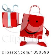 Clipart Of A 3d Happy Red Shopping Or Gift Bag Character Holding A Gift Royalty Free Illustration by Julos