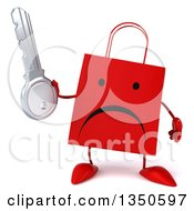 Clipart Of A 3d Unhappy Red Shopping Or Gift Bag Character Holding A Key Royalty Free Illustration by Julos