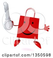 Clipart Of A 3d Happy Red Shopping Or Gift Bag Character Holding A Key And Jumping Royalty Free Illustration by Julos