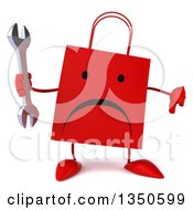 Clipart Of A 3d Unhappy Red Shopping Or Gift Bag Character Holding A Wrench And Thumb Down Royalty Free Illustration by Julos