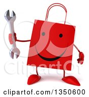 Clipart Of A 3d Happy Red Shopping Or Gift Bag Character Holding A Wrench Royalty Free Illustration by Julos