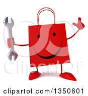 Clipart Of A 3d Happy Red Shopping Or Gift Bag Character Holding Up A Finger And A Wrench Royalty Free Illustration by Julos
