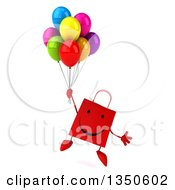 Clipart Of A 3d Happy Red Shopping Or Gift Bag Character Holding Party Balloons And Floating Royalty Free Illustration by Julos
