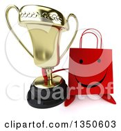 Clipart Of A 3d Happy Red Shopping Or Gift Bag Character Holding Up A Trophy Royalty Free Illustration by Julos