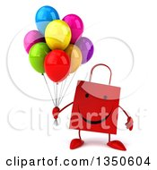 Clipart Of A 3d Happy Red Shopping Or Gift Bag Character Holding Party Balloons Royalty Free Illustration by Julos
