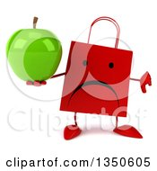Clipart Of A 3d Unhappy Red Shopping Or Gift Bag Character Giving A Thumb Down And Holding A Green Apple Royalty Free Illustration by Julos