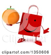 Clipart Of A 3d Happy Red Shopping Or Gift Bag Character Holding A Navel Orange And Shrugging Royalty Free Illustration by Julos