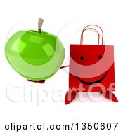 Clipart Of A 3d Happy Red Shopping Or Gift Bag Character Holding Up A Green Apple Royalty Free Illustration by Julos