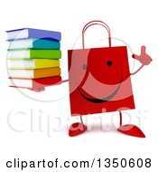 Clipart Of A 3d Happy Red Shopping Or Gift Bag Character Holding Up A Finger And A Stack Of Books Royalty Free Illustration by Julos