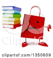 Clipart Of A 3d Unappy Red Shopping Or Gift Bag Character Holding A Stack Of Books And Giving A Thumb Down Royalty Free Illustration by Julos