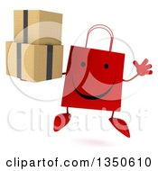 Clipart Of A 3d Happy Red Shopping Or Gift Bag Character Holding Boxes And Jumping Royalty Free Illustration by Julos