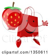Clipart Of A 3d Happy Red Shopping Or Gift Bag Character Holding A Strawberry And Jumping Royalty Free Illustration by Julos