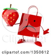 Clipart Of A 3d Unhappy Red Shopping Or Gift Bag Character Holding A Strawberry And Shrugging Royalty Free Illustration by Julos