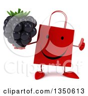 Clipart Of A 3d Happy Red Shopping Or Gift Bag Character Holding A Blackberry And Giving A Thumb Up Royalty Free Illustration