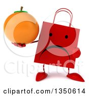 Clipart Of A 3d Unhappy Red Shopping Or Gift Bag Character Holding And Pointing To A Navel Orange Royalty Free Illustration by Julos
