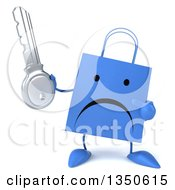 Clipart Of A 3d Unhappy Blue Shopping Or Gift Bag Character Holding And Pointing To A Key Royalty Free Illustration