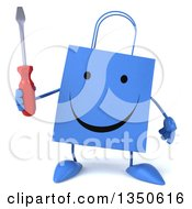 Clipart Of A 3d Happy Blue Shopping Or Gift Bag Character Holding A Screwdriver Royalty Free Illustration
